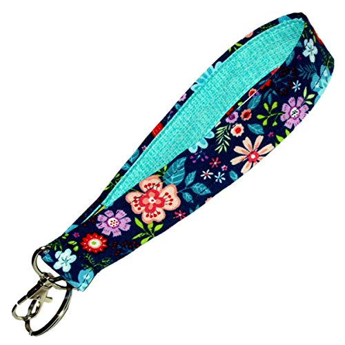 Navy Blue Floral Key Fob - 6