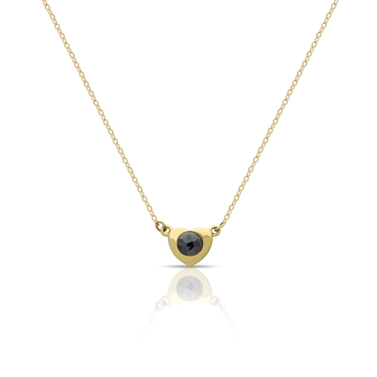 e4550615731a Solid 14K Gold Elegant Heart Necklace w Black Diamond 0.15 carat for Mom 14k  Gold Heart Pendant for Sister Solid Gold Necklaces 16inch + 2