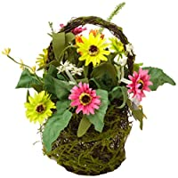 Your Hearts Delight 10 by 4-1/2-Inch Sunflowers and Wild Flowers Twig Basket, Mini