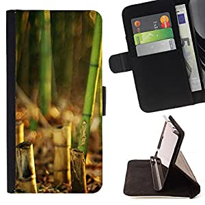 DEVIL CASE - FOR Sony Xperia Z1 L39 - Bamboo Plant - Style PU Leather Case Wallet Flip Stand Flap Closure Cover