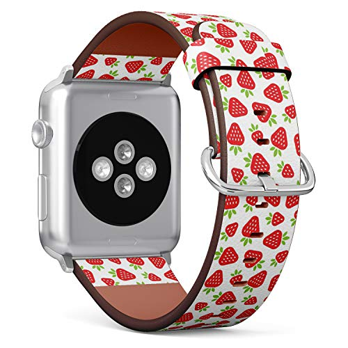 [ Compatible Big Apple Watch 42mm / 44 mm ] Replacement Leather Band Bracelet Strap Wristband Accessory // Red Strawberries Flat ()