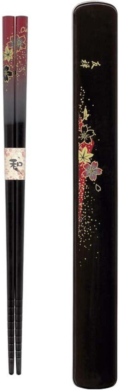 JapanBargain 3687, Travel Chopsticks with Case Reusable Chinese Korean Japanese Bamboo Portable Chop Sticks Utensil Dishwasher Safe Made in Japan, Yuzen Red