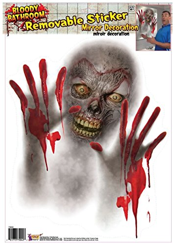 Bloody Bathroom Mirror Zombie Sticker Cling Decal Scary Party Decor Decoration