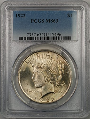 1922 Peace Silver Dollar Coin $1 PCGS MS-62 (1F)