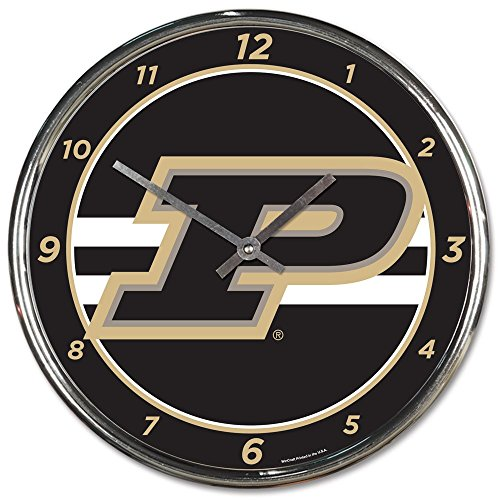 Wincraft Purdue Boilermakers 12 inch Round Wall Clock Chrome Plated ()