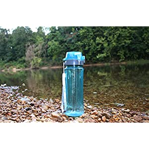 Invigorated Living Natural BPA-Free pH REVIVE Alkaline Water Bottle Ionizer with Carry Case, Aqua, 25 oz. / 750ml