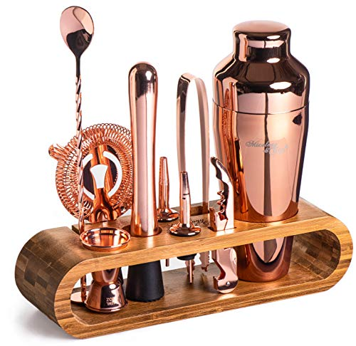 Mixology Bartender Kit: 10-Piece Copper Bar Set Cocktail Shaker Set with Stylish Bamboo Stand | Perfect Home Bartending Kit with Rose Gold Bar Tools and Martini Shaker for Foolproof Drink Mixing - Gold Liquor Cocktail