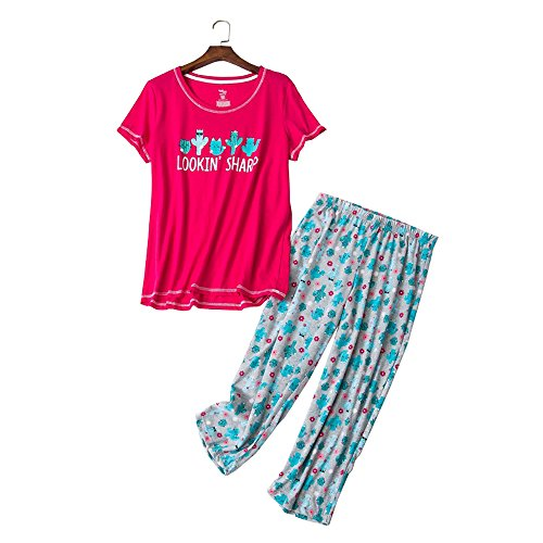 Pajama Plus Top Size (YIJIU Women's Short Sleeve Tops and Capri Pants Cute Cartoon Print Pajama Sets)