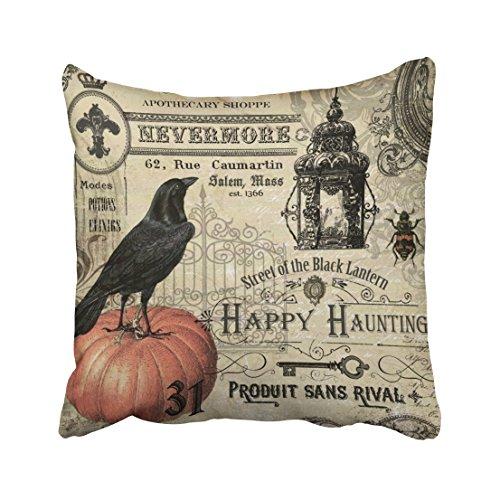Accrocn Modern Vintage Halloween Pumpkin And Crow Throw Pillow Covers Cushion Cover Case 20x20 Inches Pillowcases One Sided