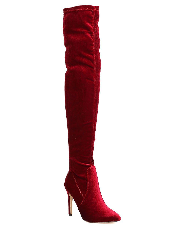 CAPE ROBBIN GB23 Women Velvet Thigh High Pointy Toe Stiletto Boot B01N9MY60M 10 M US Wine