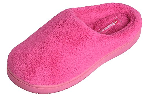 BEYOND GIRLS Girls Terry Clog House Slippers In Fun Solid Colors , (Pink)2-3