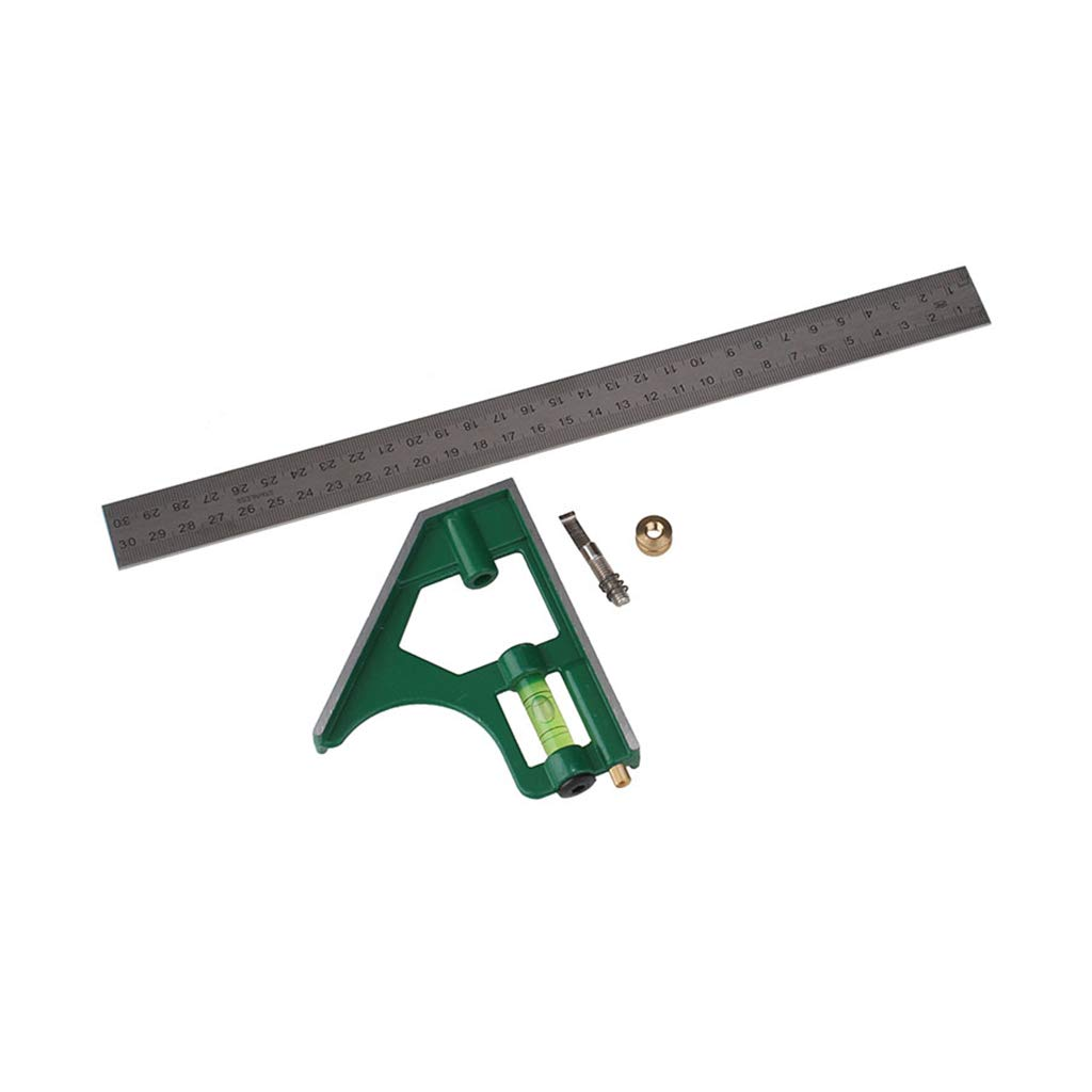 RUZYY 300mm 12 Multifuncational High Impact Engineering Combination Square Angle Ruler 45 90 Degree Protractor Imperial Ruler Measuring Tools Yellow