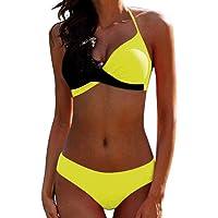 Bikini Elegante Traje de Baño Conjunto Bañador Halter Sexy Sólido para Mujer Ropa de Playa Traje de Baño Bikini Sets…