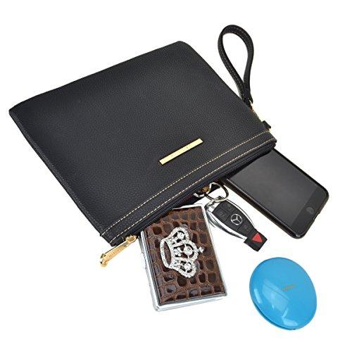 Large Leather Satchel Handbag Designer Purse Wallet Set Shoulder Bag Brown by MKY (Image #6)