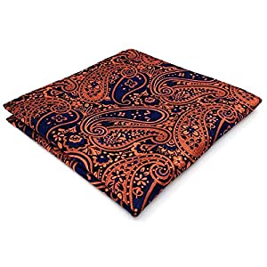 Shlax & Wing Extra Long Size Necktie Paisley Blue Navy Orange Men Tie Jacquard Weave
