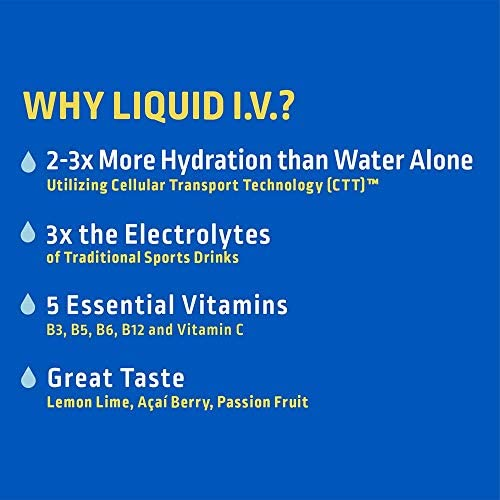 Liquid I.V. Hydration Multiplier, Electrolyte Powder, Easy Open Packets, Supplement Drink Mix (16 Count) 5