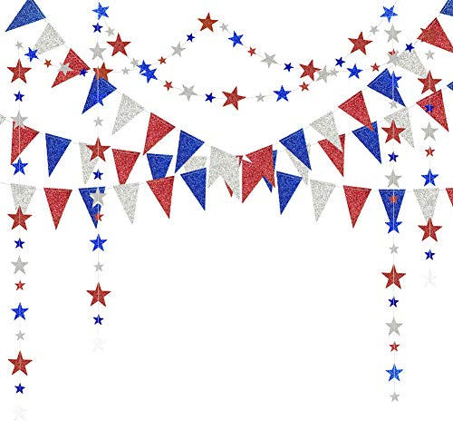 Red Blue White/Silver Star Garland and Triangle Pennant Banner Kit for 4th/Fourth of July USA America Independent Day Celebration Decor Party Hanging Decoration for Bithday/Wedding/Home/Cavinal/Home]()