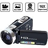 SEREE Camcorder Full HD 1080P Video Camera 270 Degree Rotation Screen 16X Digital Zoom 2.7 LCD USB AV Cable Included