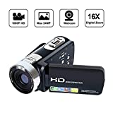 SEREE Camcorder Full HD 1080P Video Camera 270 Degree Rotation Screen 16X Digital Zoom 2.7'' LCD USB AV Cable Included