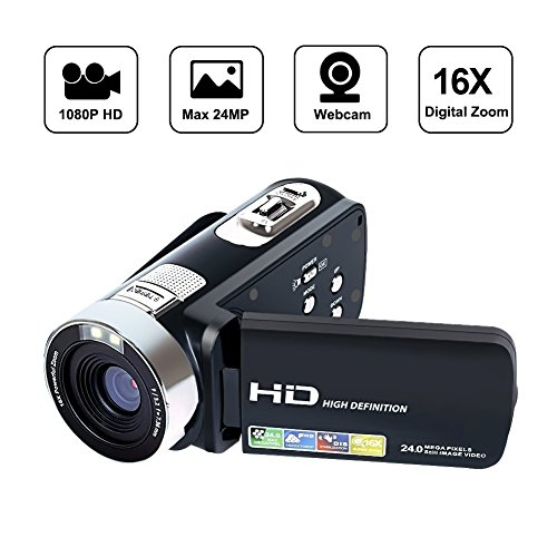 SEREE Camcorder Full HD 1080P Video Camera 270 Degree Rotation Screen 16X Digital Zoom 2.7'' LCD USB AV Cable Included by SEREE