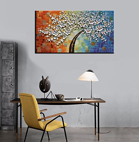 """Baccow - 2040"""" Modern Abstract Paintings Hand Painted 3D Canvas Painting Wall Art Texture Colorful Flowers Trees Home Decor Wall Art Framed Ready to Hang"""