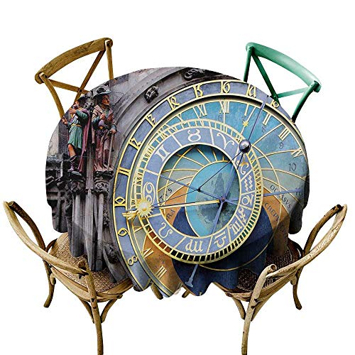 (Waterproof Tablecloth Clock Prague Astronomical Clock in The Old Town an European Medieval Landmark of City Indoor Outdoor Camping Picnic D35 Blue and Yellow)