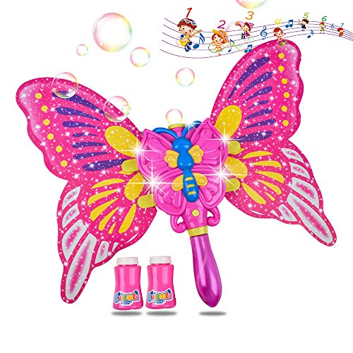 AINOLWAY Bubble Machine Butterfly Bubble Wand with 2 Bottles of Bubble Solution, Electric LED Light Musical Bubble Blower Toys for Girls Party Wedding Indoor Outdoor Activities (Pink)