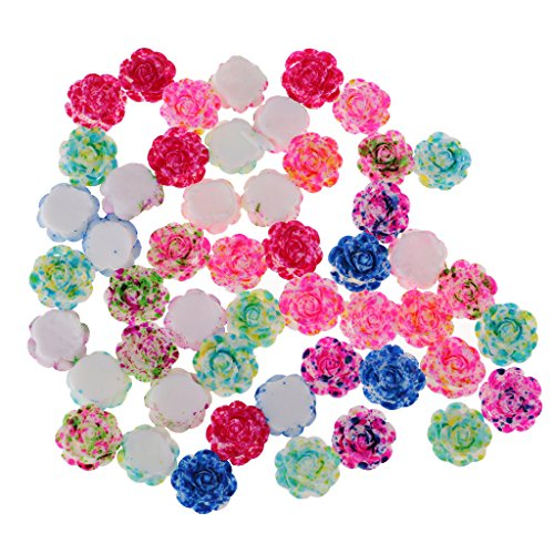 MagiDeal 50 Pieces Lots Mixed DIY Flatbacks Resin Flat Back Layered Flowers Cabochon Buttons Scrapbooking Slime Charm DIY Embellishment Craft 14mm - Mixed Colors