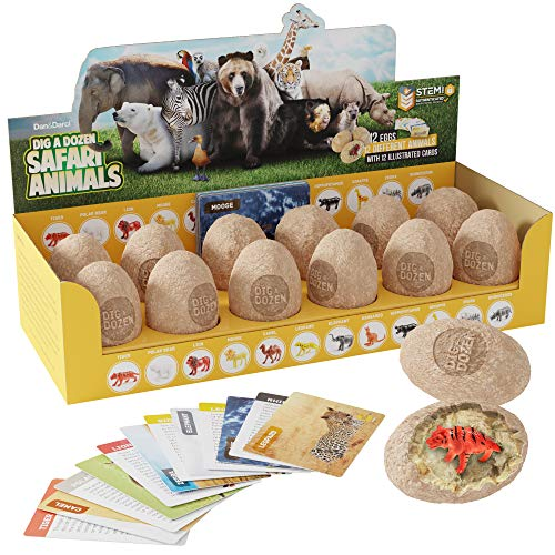 Wild Animals Fun Kit - Dig a Dozen Safari Animals Kit - Break Open 12 Unique Wild Animal Eggs and Discover 12 Cute Animals with Learning Cards - Easter Archaeology Science STEM Gift