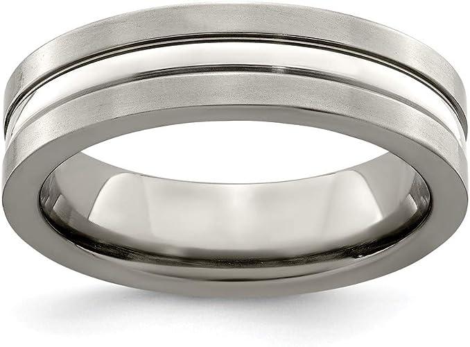 Titanium Jay Seiler Titanium 8mm Laser Design Brushed Band 7.5 Size