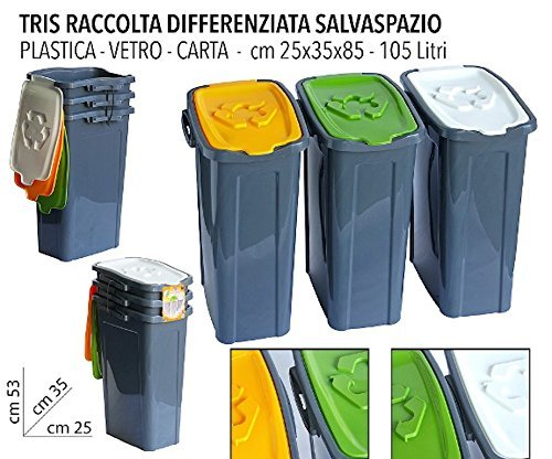 Pattumiera pattumiere set 3 pezzi per la raccolta for Pattumiera differenziata ikea