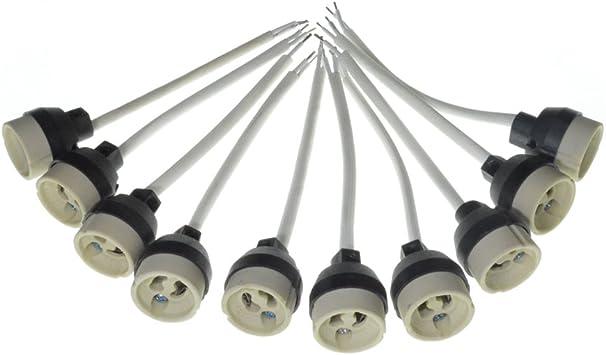 10x GU10 Portalámparas Bases de lámpara de cerámica Conector GU10 Enchufe para Bombillas de luz LED Bombillas halógenas: Amazon.es: Bricolaje y herramientas