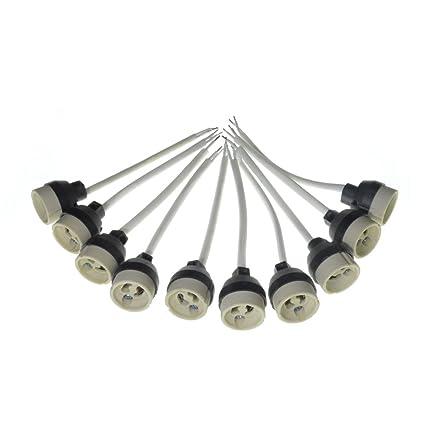 10x GU10 Portalámparas Bases de lámpara de cerámica Conector GU10 Enchufe para Bombillas de luz LED