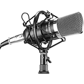 Neewer NW-700 Professional Studio Broadcasting & Recording Condenser Microphone Set Including: (1)NW-700 Condenser Microphone + (1)Metal Microphone Shock Mount + (1)Ball-type Anti-wind Foam Cap + (1)Microphone Audio Cable (Black)