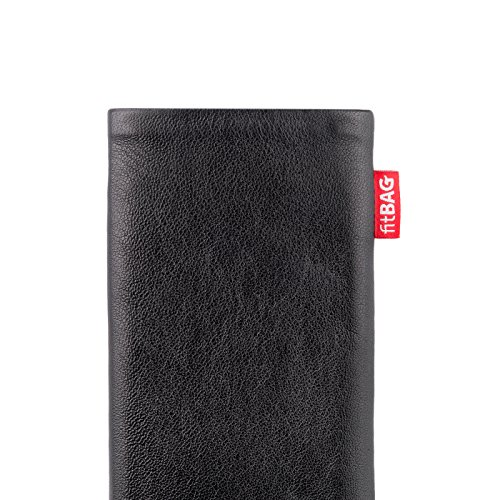 fitBAG Beat Black custom tailored sleeve for Apple iPhone X. Fine nappa leather pouch with integrated microfibre lining for display cleaning by fitBAG (Image #3)