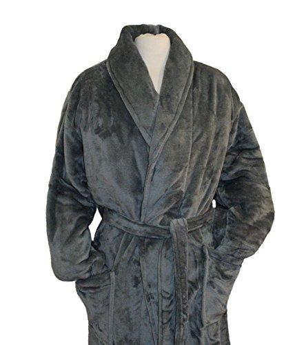 (Tri Color Robes Customizable Men's Microfiber Plush Luxury Robe (One Size, Grey))