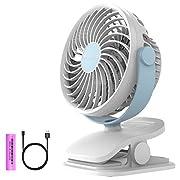 Clip on Fan, Ommani USB or 2600mAh Rechargeable Battery Operated Fan Small Desk Fan Whisper Quiet with 4 Speed Swivel 360°, Portable Stroller Fan for Baby Stroller Home Office Camping Outdoors