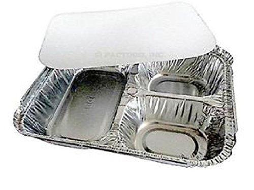 3Compartment Oblong Aluminum Foil TakeOut Container w/Board Lid Pans 250 Sets