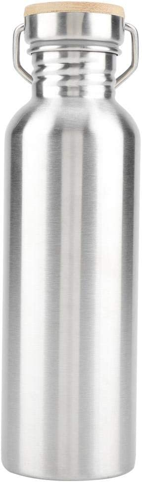 Botella de agua de acero inoxidable, botella de agua portátil al aire libre Botella de bebida con tapa de bambú Taza de viaje para ciclistas Corredores Excursionistas Picnics Camping