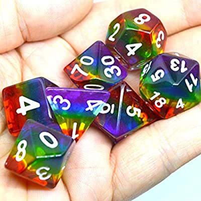 iMagitek Rainbow Polyhedral Dice Set for DND Dungeons and Dragons Role Playing Game: Toys & Games