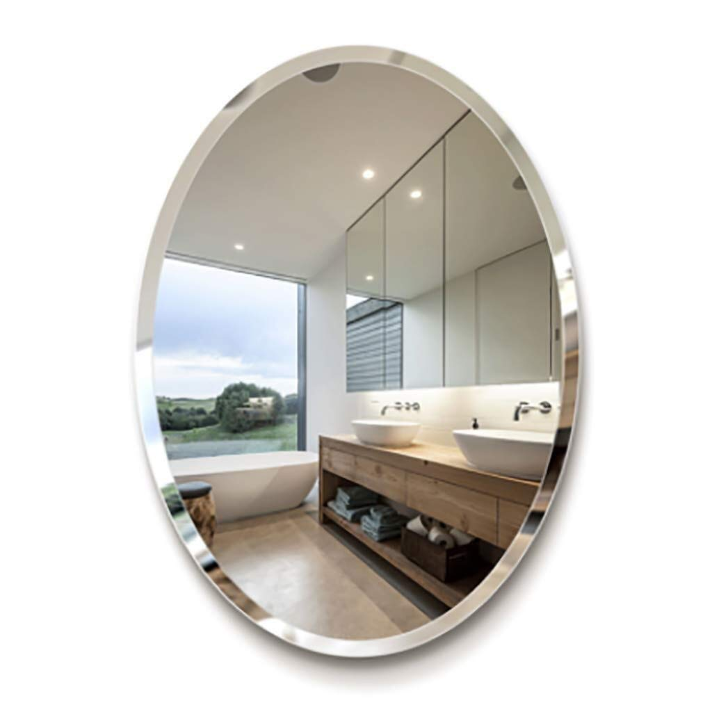 Beauty mirror Bathroom Mirror,Oval Wall Vanity Mounted Makeup Mirror 5mm Angled Beveled Frameless Contemporary Simple Decorative Design(Horizontal Or Vertical) Dressing mirror (Size : 500mmX700mm) by Makeup Mirrors
