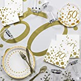 Large Sparkle and Shine Gold Deluxe 50th Anniversary Party Supplies Kit