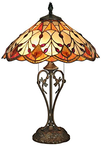 Dale Tiffany TT70699 Marshall Table Lamp, Antique Brass and Art Glass Shade ()