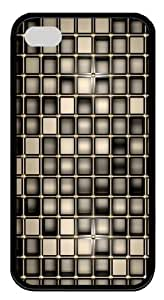 Bronze Squares TPU Case Cover Protector Compatible with iPhone 4/4S Black