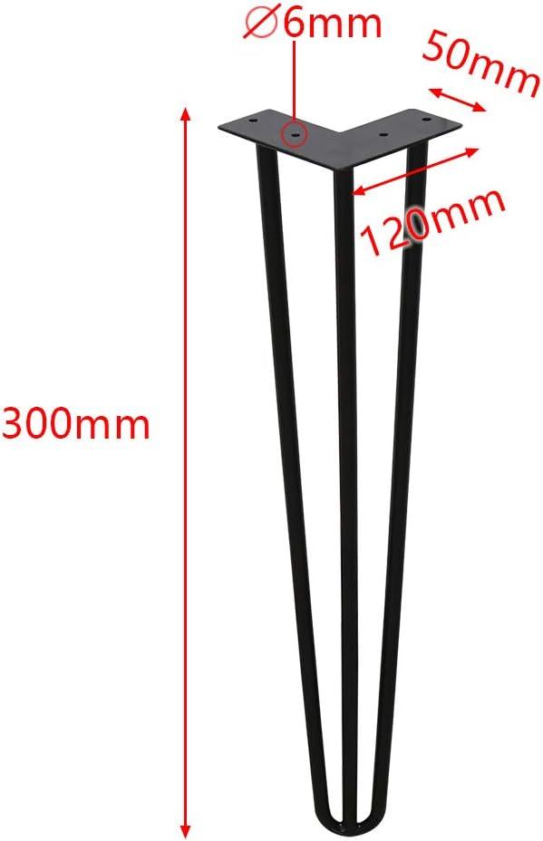 4er Hairpin Legs Schreibtisch Tischbeine Austauschbare Haarnadelbeine Tischgestell 61cm mit Doppelstab Bodenschoner und Schrauben Verf/ügbar in H/öhe von 15cm-72cm