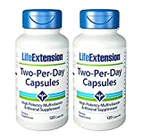 Life Extension Two Per Day bundled with Super Omega-3 EPA/DHA with Sesame Lignans & Olive Extract and Super Ubiquinol CoQ10 with Enhanced Mitochondrial Support™
