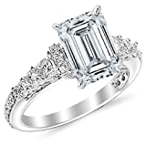 White Gold Designer Four Prong Round Diamond Engagement Ring with a 0.62 Carat Emerald Cut E Color SI1 Clarity Center Stone
