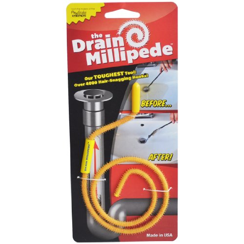 FlexiSnake FSMPD Drain Millipede - Drain Clog Remover - Dependable, Thin, Flexible, Durable and Easy to Use – Safe for Most Drains and Grates - Made in USA, 18 Inch, Yellow