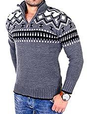 Reslad Gebreide herentrui met ronde hals en ritssluiting, wintertrui voor mannen, Noorse trui, RS-3110