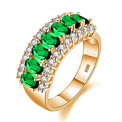 Uloveido Gold Plated Oval Cut Green Crystal Wedding Band Promise Ring, 7 Stone Mother Birthstone Ring for Women J501 (Gold, Green, Size 8) (Rings Green Stone)